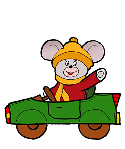 Mouse is driving a car